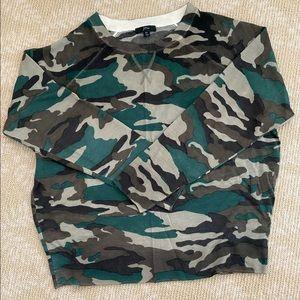 J Crew light weight camo sweater, XL